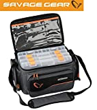 Savage Gear System Box Bag L (24x47x30cm) Tasche inkl. 4 Köderboxen, Angeltasche, Ködertasche zum...