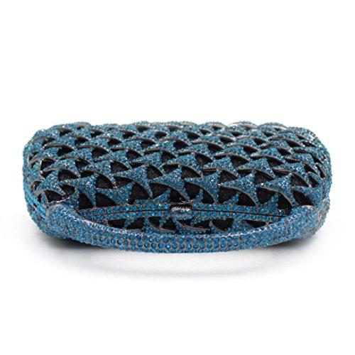 Bag Diamante Sera Di Lusso Della Frizione Di Alta Qualità Delle Donne Blue