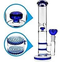 REANICE bongs Cristal fumar pipa hookah 18.8 mm bong tazon Altura 27cm pipas de vidrio recto panal Branch agua de Bong Oil Rigs Pipe grandes pipas de vidrio con accesorios Azul