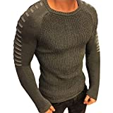 SANFASHION Mode Herren Slim Fit O-Neck Langarm Muscle T-Shirt Casual Bluse (S, Grün)