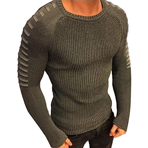 T-Shirt da Uomo a Manica Lunga con Pullover Lavorato a Maglia a Maniche Lunghe Tinta Unita Maglione Girocollo a nvernale da Uomo