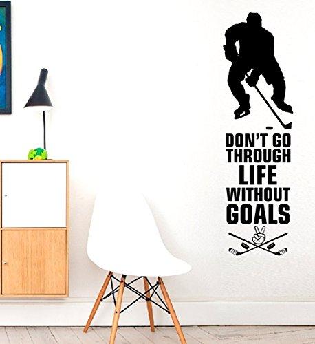 Don 't Go durch Leben ohne Ziele???Ice Rink Sport Hobby Match Play Hockey Wand Motivation Aufkleber Wand Zitat Aufkleber Aufkleber Art Wand Spiel Sport Familie Fun Hobby Zitat Love Home -