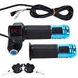 Elektrofahrrad Gasgriff Elektro-Scooter Batteriespannung mit LED-Anzeige und Power Key Locker Accelerator ( Farbe : Bule )