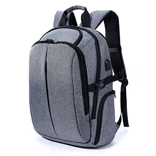 Imagen de  daypack con carga usb pot, casual   portátil bolsa con 17pulgadas negro para la escuela, negocios, viajes gris gris