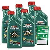 Castrol 10821060 6x 1 L = 6 Liter Castrol Magnatec Diesel 5W-40 DPF Motor-Öl Motoren-Öl inkl. Castrol Ölwechsel-Anhänger
