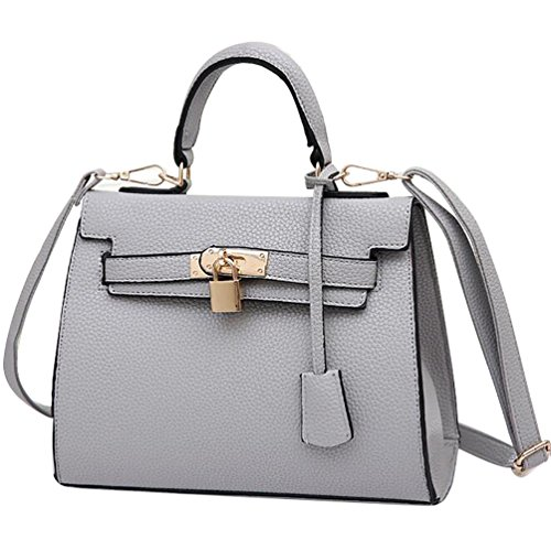 NiSeng Damen Schultertasche PU Leder Handtaschen Vintage Umhänge Tasche für Frauen Grau