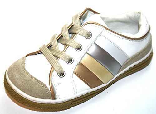 4Kids Sport Cherie 265 Kinder Schuhe Mädchen Jungen Halbschuhe Beige / weiss Weiss/beige