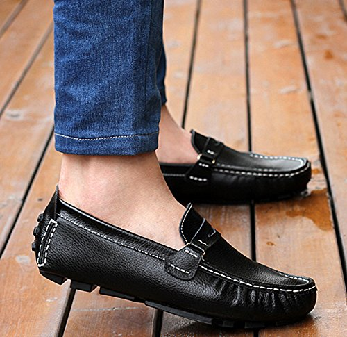 Aisun Homme Mode Conduite Chaussure Bateau Slip On Mocassins Noir