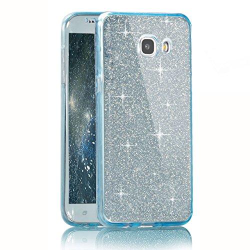 Vandot Samsung Galaxy A5 2016 Coque de Protection Etui Transparent Antidérapant Pour Samsung Galaxy A5 2016 Etui Protection Dorsale Étui Slim Invisible Housse Cover Case en TPU Gel Silicone Hull Shell Paillette-Bleu