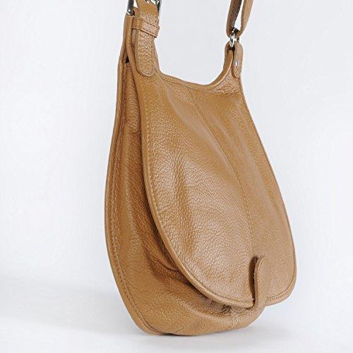 OH MY BAG Borsa a mano pelle donna - Modello PETRA - Borsa di cuoio a tracolla Cognac clair