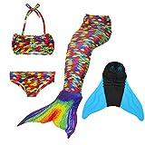 SUPERSTAR 4PCS Girls Mermaid Tail Swimsuit Princess Bikini Swimwear Set (130, colorful)