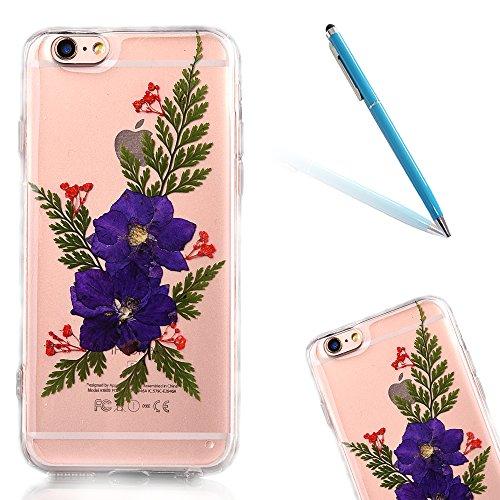"""iPhone 6s Schutzhülle, iPhone 6 Soft TPU Handytasche, CLTPY Modisch Durchsichtige Rückschale im Getrocknete Blumenart, [Stoßdämpfung] & [Kratzfeste] Full Body Case für 4.7"""" Apple iPhone 6/6s + 1 Stylu Flower 9"""