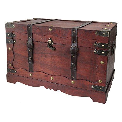 HMF 6400-160 Schatztruhe, mit Schloss, Schatzkiste, Holzkiste Frankreich, 60 x 35 x 38 cm, Aufbewahrungsbox