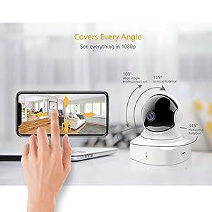 YI Cámara domo HD 1080P HD Pan/ Tilt/ Zoom inalámbrica de seguridad IP Sistema de vigilancia interior con visión nocturna, detección de movimien o llanto de bebé y monitor remoto con aplicaciòn de iOS y Android
