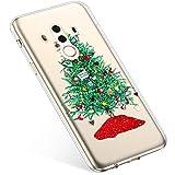 Uposao Handyhülle Huawei Mate 10 Pro Hülle Transparent Silikon Ultra Dünn Schutzhülle Durchsichtig Handyhülle Kristall Weiche Silikon TPU Handytasche Rückschale,Grün Weihnachtsbaum