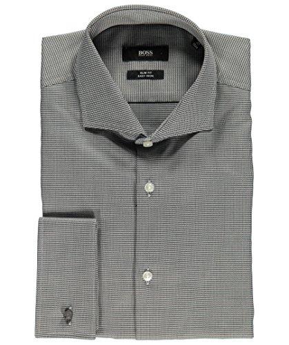 HUGO BOSS Herren Hemd Freizeithemd Businesshemd schwarz - grau 40 Slim Fi