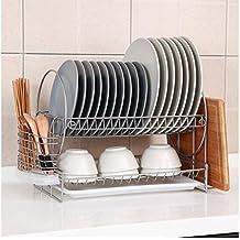 Cocina Estante de metal Doble capa Multifunción Bowl estante Drain Incorporated ordenar Bowls Palillos tubo armario
