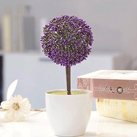 YHJ Fleurs fausses Pastoral Fresh Green Grass Ball Fleurs Artificielles Plant Suit Décoration Fleur Fleur Faux Potted Bonsai ( Couleur : D )