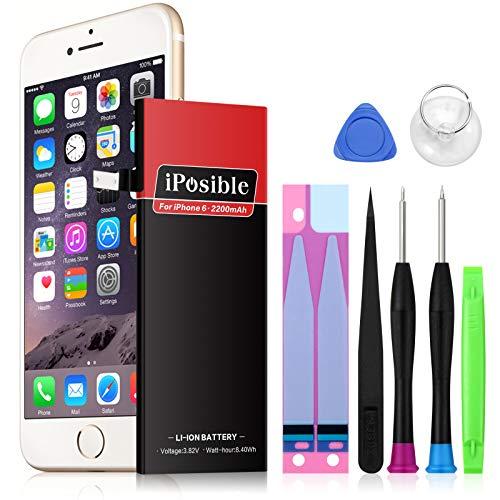 Akku für iPhone 6 mit Reparaturset, iPosible 2200 mAh Lithium-Ionen Akku mit Austausch-Set Ersatzakku für iPhone 6 Batterie mit Werkzeug Set und Klebestreifen