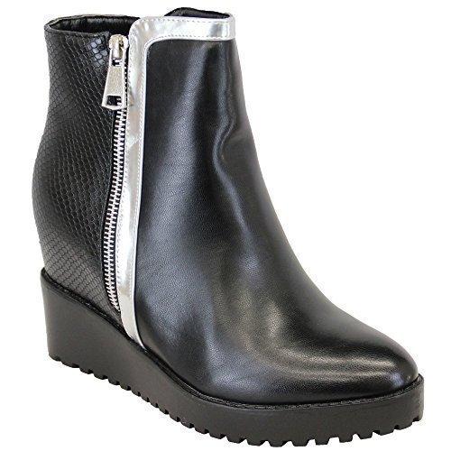 Damen Stiefel Kelsi Damen High Top Keilabsatz Ankle Lederoptik Schuhe Schlangen Effekt Schwarz - AM15421