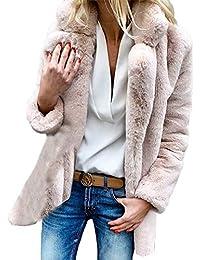 Abrigo De Piel Mujer Fashion Elegantes Anchos Piel Sintética De Solapa Manga  Larga Outerwear Espesar Caliente db02972a08a