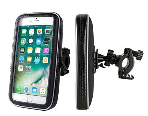 """Fahrradhalterung / Motorrad-Halterung mit Schutz-Tasche für iPhone 6 PLUS, weitere Smartphones, Navigator, Handy, uvm. - Display-Diagonale: 3,5'' bis 5,5"""" universal. Höhe bis 16 cm / Breite bis 8 cm / Tiefe bis 1,8 cm. Schützhülle Spritzwasser geschützt! Mit Sicherungsriemen!"""
