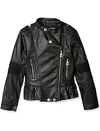 Urban Republic Big Girls Faux Leather Moto Jacket, Black, 7/8