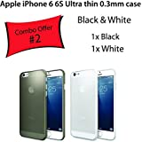 2 x Safeseed® ultra thin case for Apple Iphone 6 6S mobile phone back cover 0.3 mm Combo Offer 2 Cases PCS Black White