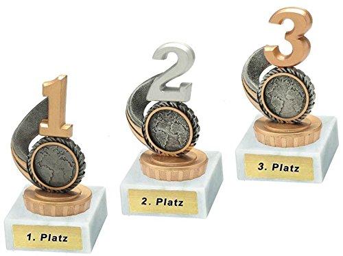 RaRu 3 Pokale für Viele Verschiedene Sportarten mit Gravur (1, 2. und 3. Platz) und 3 Anstecknadeln (Sticker) (Skat)