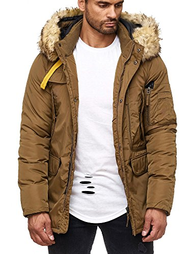 Jungen-brown-leder-jacke (Husaria Designer Funktionsjacke Winterjacke mit Kapuze Parka Kunstfell S189 (L, Beige))