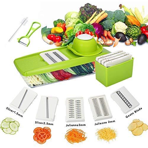 Baban Gemüseschneider Slicer 5 in 1 Multifunktionsreibe Gemüsehobel Rostfreiem Stahl Mandoline in der Küche für Gemüsefruchtfleisch, Schnitt für Gemüse, Leicht zu reinigen