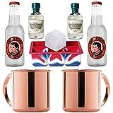 Gin Mule/Moscow Mule Set   2x Kupfer-Becher von ALANDIA   2x Six Ravens Gin Minis   2x Thomas Henry Spicy Ginger Beer   1x XXL-Eiswürfelform