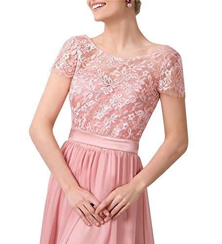 Vickyben Damen Vintage Retro Gap Aermel Spitzen Chiffon Abendkleider Ballkleid Brautjungfernkleid Cocktailkleid Pink