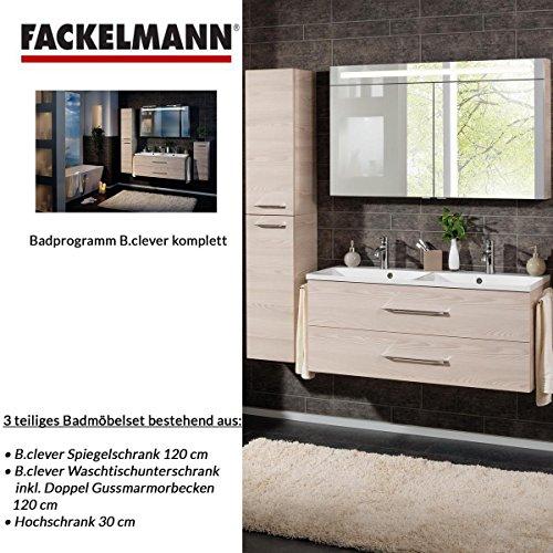 Fackelmann Badmöbel Set B.Clever 3-tlg. 150 cm esche mit Waschtischunterschrank inkl. Doppel-Gussmarmorbecken & Hochschrank & LED Spiegelschrank