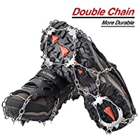 AUHIKE Ice Cleats Crampons Traction Snow Grips for Boots Shoes Women Men Kids Anti Slip 19 Stainless Steel Spikes Safe Protect for Hiking Fishing Walking Jogging Mountaineering (L, 19 Teeth)