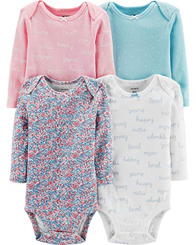Carters Floral Bodysuit (Carter's Baby Mädchen (0-24 Monate) Body Pink Multi Pink Gr. 3 Monate, Floral/Pink/White/Dot)