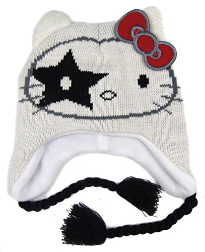 ältere Mädchen Hello Kitty Kiss Peruanischer Stil Fleecefutter Hut vier Styles - Weiß, 134 (8 Jahre (Peruanische Mütze)