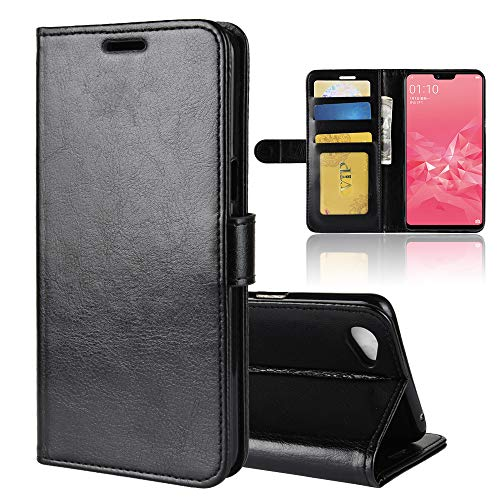 Oppo A3 Case,[ Shock Absorbent ] Shell PU Leather Kickstand Wallet Cover Durable Flip Case for Oppo A3 Black