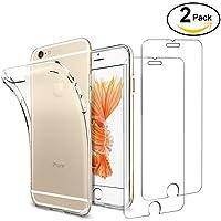 Funda + 2x Cristal para iPhone 6 / 6s, Leathlux Transparente TPU Silicona [Funda + 2 Pack Vidrio Templado] Ultra Fino Protector de Pantalla 9H Dureza + Flexible Back Case Cover para iPhone 6s / 6
