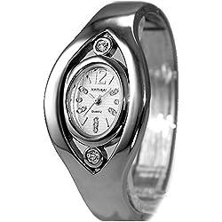 10fw640C glänzend Silber Band Elliptische PNP glänzend Silber Watchcase Damen Frauen Armreif Armbanduhr