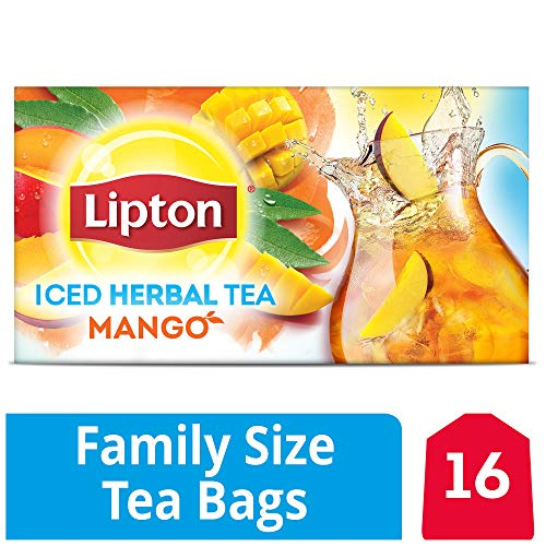 Lipton Caffeine Free Mango Iced Herbal Tea 16 Family Size Tea Bags 61g