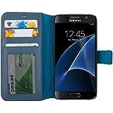 Benito Étui portefeuille pour Samsung Galaxy S7Slim, fait à la main, en cuir véritable doux, fabriqué en Europe, carte de crédit, carte d'identité Support–Portefeuille de voyage–– Protection de luxe pour boîtiers, Cuir, bleu, Galaxy 7