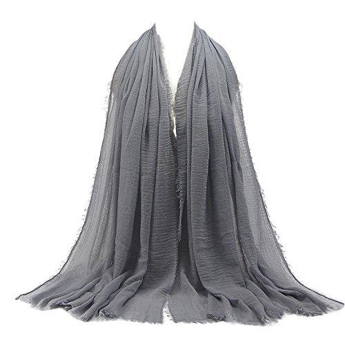 KPILP Premium Viskose Maxi Crinkle Cloud Hijab Schal Pashminas Soft Islam Muslim Kopftücher Umhang,Grau 27# -