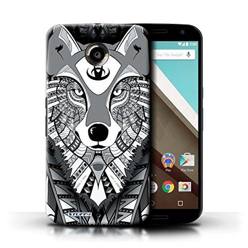 Kobalt® Imprimé Etui / Coque pour Motorola Nexus 6 / Loup-Couleur conception / Série Motif Animaux Aztec Loup-Mono