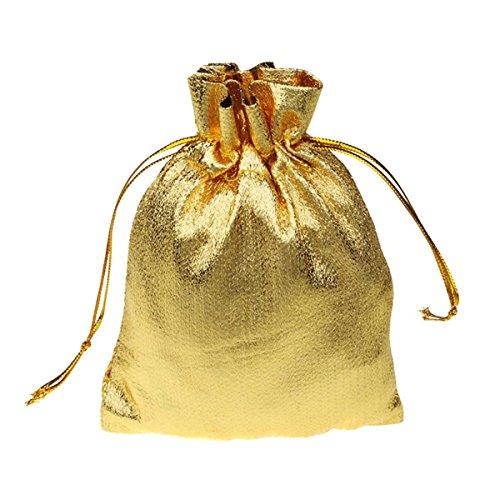 Queenbox® 50Pcs Gold Metallic Folie Tuch Organza Beutel Hochzeit Dekoration Geschenke Gunst Pouch Weihnachtsdekoration Verpackung Taschen