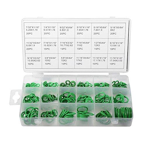 XCSOURCE 270pcs juntas tóricas arandela de caucho nitrilo juntas nbr Kit 18tamaños en verde con un caja de plástico con autocierre te487
