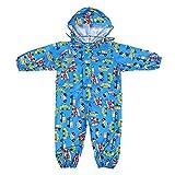 Gagacity Pioggia Completo Bambini Pioggia Cappotto impermeabile Impermeabile in un Unico Pezzo 75-135cm Blu/S
