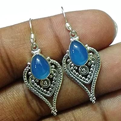 Kanika Jewelry Trove Blue Chalcedony 925 Silver Handcrafted Earrings