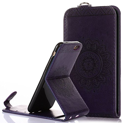Custodia iPhone 6/6S 4.7,Ukayfe Flip Cover Case Custodia per iPhone 6/6S 4.7 in pelle PU,iPhone 6/6S 4.7 Lussuosa Astuccio Custodia Cover [PU Leather] [Shock-Absorption] Protettiva Portafoglio Cover C Porpora