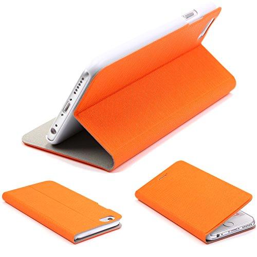 lus 6S Plus Hülle, Wallet mit [ KARTENFACH & STANDFUNKTION ] Schutzhülle Case Cover Etui Ständer Aufsteller Handyhülle für Apple iPhone 6 Plus / 6S Plus Farbe: Orange ()